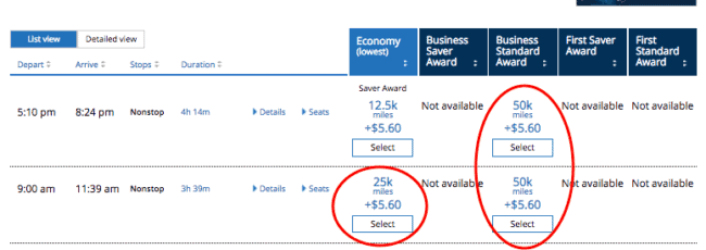 Standard award space between Newark and Houston is circled.