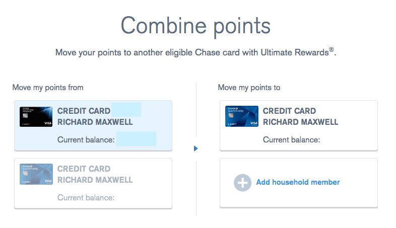 This screenshot is just for the sake of having an example--you wouldn't actually want to move points from your Sapphire Reserve to you Sapphire Preferred as they are worth more as Reserve points. All of my father's points are already in his Sapphire Reserve account, which is why Chase is only giving the option to transfer to Sapphire Preferred.