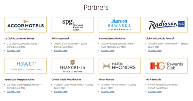Etihad's hotel partners. The conversion rate for SPG to Etihad is listed incorrectly here. It should read 20k SPG points = 25k Etihad .