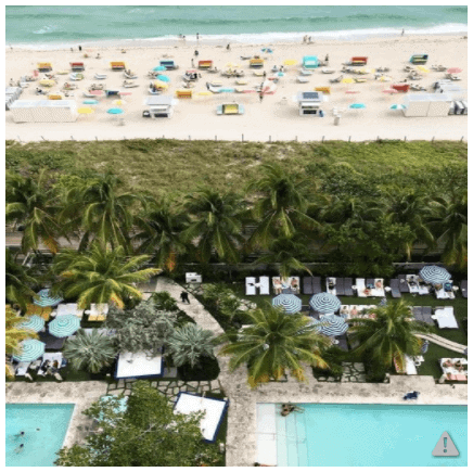 Aerial view of the Confidante Miami Beach, a Hyatt property that you should wait to book until Wednesday as it is dropping significantly in award price.
